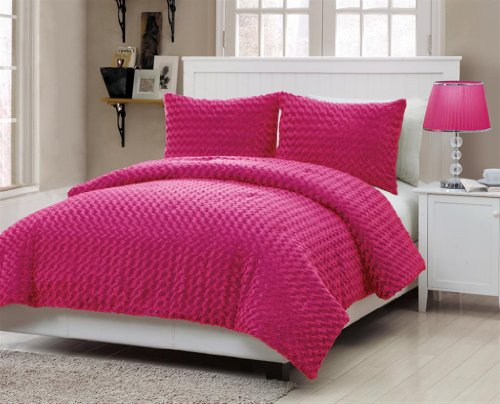 VCNY Rose Fur 3-Piece Comforter Set, Full, - Pink Bedding Hot