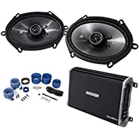 2) KICKER 43CSC684 6x8 450 Watt Car Speakers+4-Channel Kicker Amplifier+Amp Kit