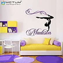 2016 NEW Personalized Girl Name Gymnast Gymnastics Dance Dancing Vinyl Wall Decal Sticker Wall Stickers For Kids Rooms Size 76x71CM