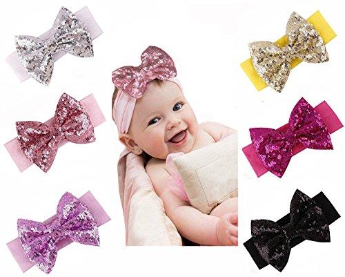 Onshine 6pcs Baby Sequins Headbands Glitter Bow Soft Headwrap Sparkle (Sequin Bow Headband)