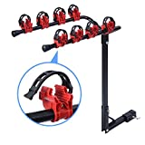 GSMV 2 Bicycle Bike Rack 1-1/4''&2'' Hitch Mount Carrier Car Truck AUTO SUV Red&Black