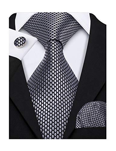 Barry.Wang Solid Colors Men Ties Handkerchief Cufflinks Necktie Set for Wedding Business (Black Grey)