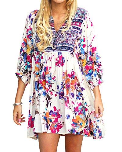 Kathemoi Womens Boho Beach Dresses Floral Tribal Print V Neck Summer Mini Dress (3X, White)
