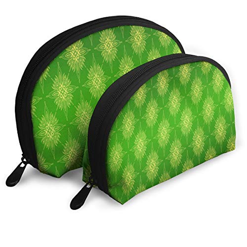 (Makeup Bag Green Vintage Pattern Portable Shell Storage Bag For Mother Halloween Gift 2)