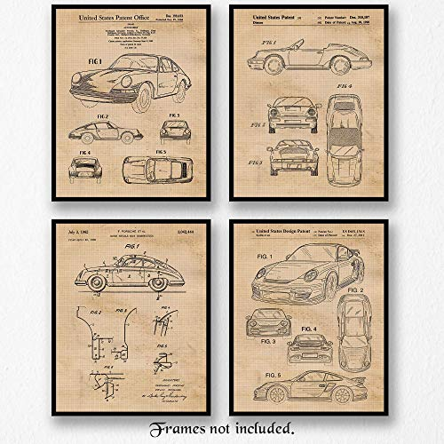 Original Porsche 911 Patent Art Poster Prints - Set of 4 (Four 8x10) Unframed Pictures - Great Wall Art Decor Gifts Under $20 for Home, Office, Studio, Garage, Man Cave, Mechanic, Cars & Coffee Fan from Stars by Nature