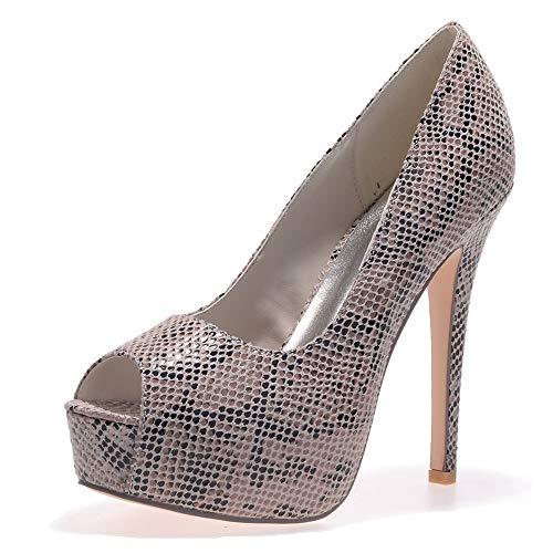 moda slip da altezza tacco tacco pompe tacchi alto Nuove festa Zxstz nuziali donne on scarpe Marrone alto WBqgwX07