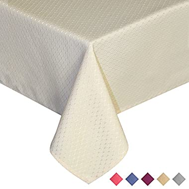 ColorBird Elegant Waffle Jacquard Tablecloth Waterproof Table Cover for Kitchen Dinning Tabletop Decor (Rectangle/Oblong, 60 *84 , Beige)