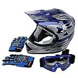 quad helmets for youth - XFMT Youth Kids Motocross Offroad Street Dirt Bike Helmet Goggles Gloves Atv Mx Helmet Pink Butterfly (XL, Blue Flame)
