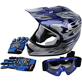 XFMT Youth Kids Motocross Offroad Street Dirt Bike Helmet Goggles Gloves Atv Mx Helmet Pink Butterfly (XL, Blue Flame)