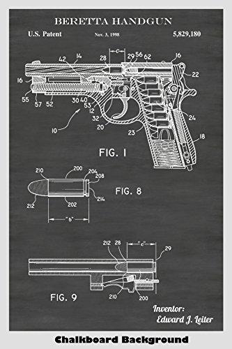Beretta Handgun Firearm Poster Patent Print Art Poster: Choose From Multiple Size and Background Color ()