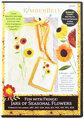 Kimberbell KD545 Fun with Fringe: Jars of Seasonal Flowers Embroidery - Fun Embroidery