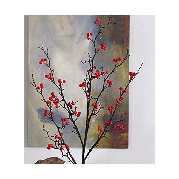 MARJON FlowersHandmade Artificial Fake Berries Flower Phoenix Tree Fruit Floral Christmas Berries Wild Flowers Home Decor 1 PCS (Red)