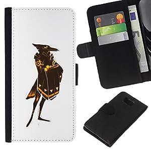 Be-Star la tarjeta de Crédito Slots PU Funda de cuero Monedero caso cubierta de piel Para Samsung ALPHA G850 ( White Raven God Bird Gold Shield )