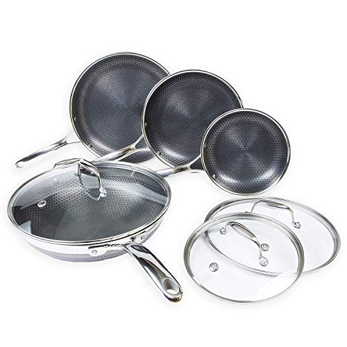 Non Stick Wok Set - Hexclad Hybrid Nonstick Cookware 7 Piece Set with Lids and Wok, Metal Utensil Safe, Induction Ready