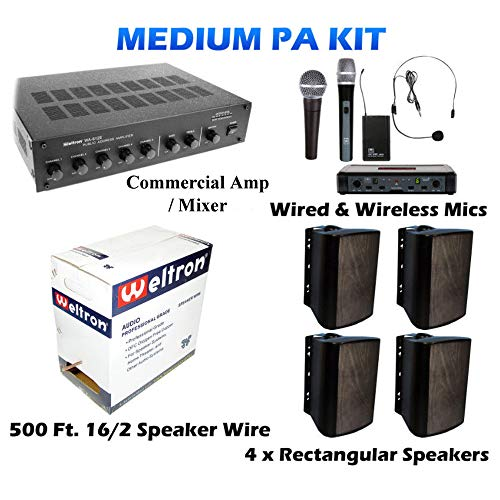 (Outdoor PA Sound Public Address Speaker System KIT for Baseball Football Fields w/ 4 Weatherproof Speakers)