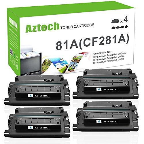 Aztech Compatible Toner Cartridge Replacement for HP 81A CF281A for HP M605 M604 M604N M604DN M605N M605DN M605X HP Laserjet Enterprise M605 M604 M605N M604N M605DN M605X Toner Printer (Black-4 Pack)