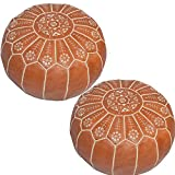 20 Inch Tall Ottoman Handmade Moroccan Pair (2) Moroccan Leather Ottoman Pouffe Pouf Footstools (Leather) Genuine Hand-Stitched Seating | Unstuffed |Living Room, in Color Yellow | Tan 14 H inches x 20 D Inches