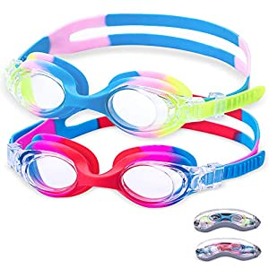 Aegend Kids Swim Goggles, 2pack,Swimming Goggles For Kids Contrast Color Child Swim Goggles (Age 3-6) for boys girls, Clear Vision, Anti Fog UV Protection, No Leak, Soft Silicone, Free Protection Case