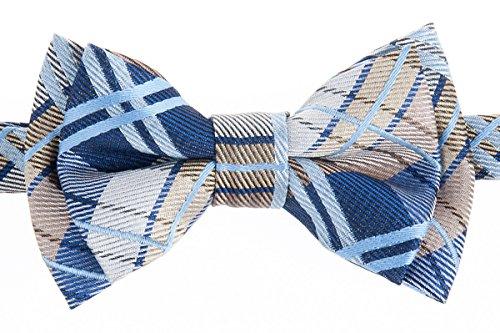 Retreez Elegant Tartan Plaid Check Woven Microfiber Pre-tied Boy's Bow Tie - Navy Blue and Khaki - 4-7 years ()
