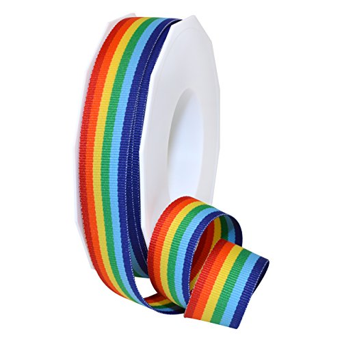 (Morex Ribbon Polyester Grosgrain Striped Decorative Ribbon, Rainbow, 7/8)