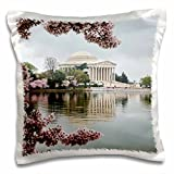 3dRose Danita Delimont - Memorials - Washington DC, Jefferson Memorial and Tidal Basin with Cherry Blossoms - Pillow Case