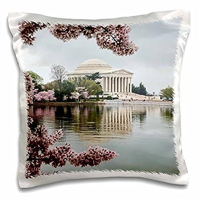 3dRose Danita Delimont - Memorials - Washington DC, Jefferson Memorial and Tidal Basin with Cherry Blossoms - Pillow Case