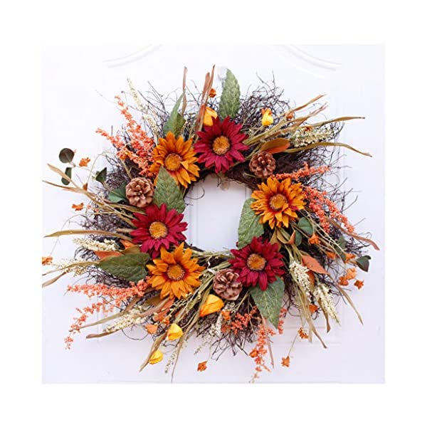 Artificial Fall Wreath Fall Maple Leaves,Sunflower with Berries for Front Door Fall Harvest Decorations Daisy Spring Wreath for Front Door, Wedding, Wall, Home Decor