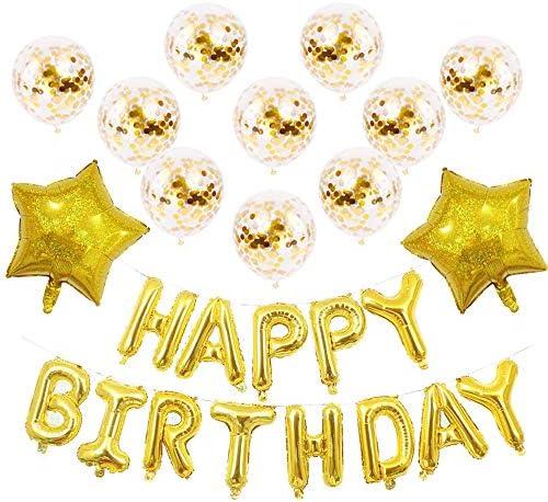 バルーン パーティー SZSMD 風船 誕生日 飾り付け セット バルーン HAPPY BIRTHDAY セットハッピーバースデー 女の子と男の子のためのバルーン誕生日装飾セット(ハンドポンプ, リボン, 付き)