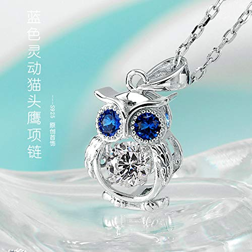Libaraba Cute 925 Silver Bling Cubic Zirconia Accent Filigree Owl Pendant Necklace,Owl Necklace for Women Blue