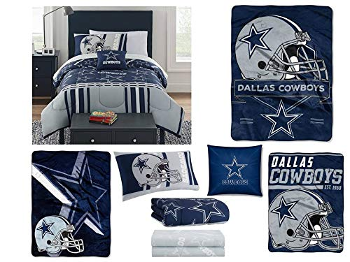 Northwest NFL Dallas Cowboys 8pc Bedding Set: Includes (1) Twin Comforter, (1) Twin Flat Sheet, (1) Twin Fitted Sheet, (1) Pillowcase, (1) Blanket, (2) Throws, and (1) Toss Pillow