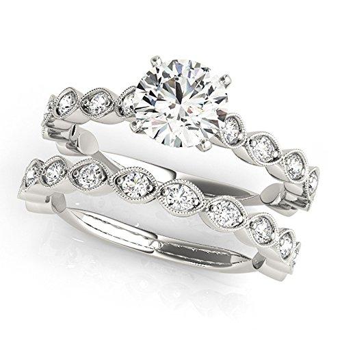 14K White Gold Unique Wedding Diamond Bridal Set Style MT50948