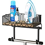 SRIWATANA Ironing Board Hanger Wall Mount, Iron and Ironing Board Holder with Storage Basket