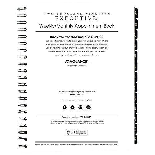 AT-A-GLANCE 2019 Weekly & Monthly Appointment Book Refill, for 70-LX81-05 or 70-NX81, 8-1/4