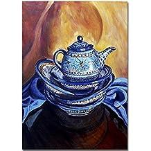 Boleslawiec Polish Pottery Teapot Giclee Art Print Yellow Blue Rustic Kitchen Wall Decor mat option