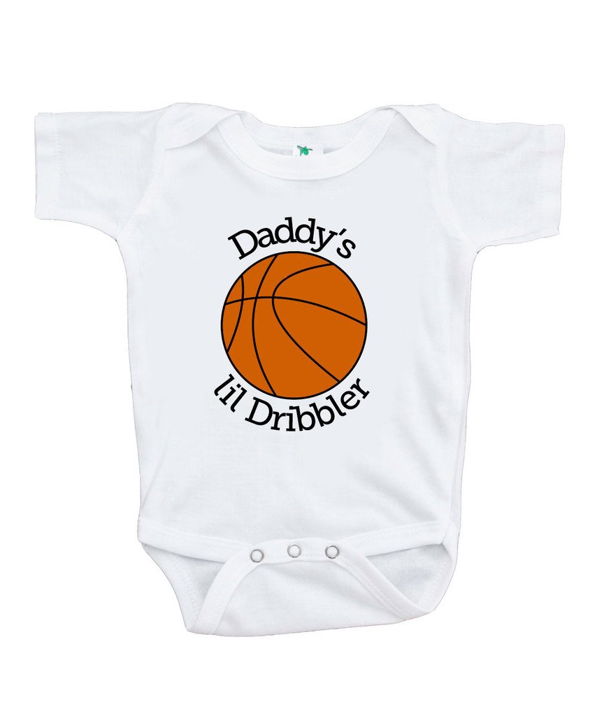 7 ate 9 Apparel Baby Boy's Daddy's Lil Dribbler Basketball Onepiece 0-3 Months Orange and Black