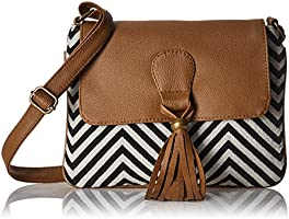 Kanvas Katha Women's Sling Bag (Black and White) (KKSNJQ013)