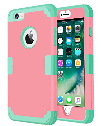 iPhone 5s Case,iPhone SE Case,iPhone 5 Case, J.west 3in1 Shock Absorbing Case, Rubber Combo Hybrid Impact Silicone Armor Hard Case Cover for Apple iPhone 5/5S/SE - Pink/Green