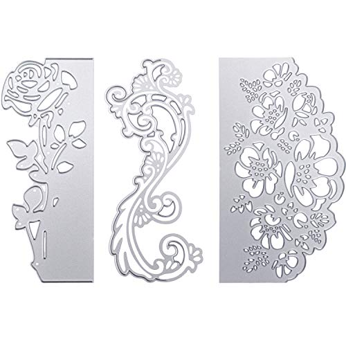 (3 Pieces Cutting Dies Flower Cutting Stencil Carbon Steel Floral Die Embossing Template Dies for Scrapbooking Paper Card DIY Craft Favors)