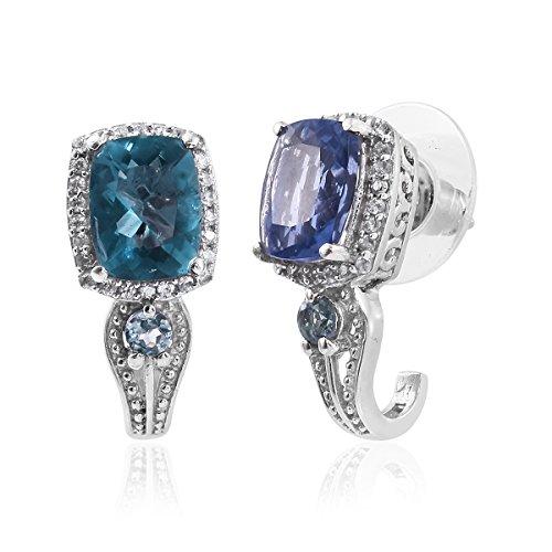 Color Change Fluorite, Kornerupine, Zircon Platinum Plated Silver J-Hoop Gift Earrings 4.4 cttw