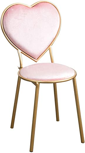 Wrought Iron Heart-Shaped Stools Flannel Lounge Chairs Kitchen Counter Dessert Shop High Bar Stool with Backrest Cafe Golden Dresser Chair Metal Legs Color Pink, Size 45cm