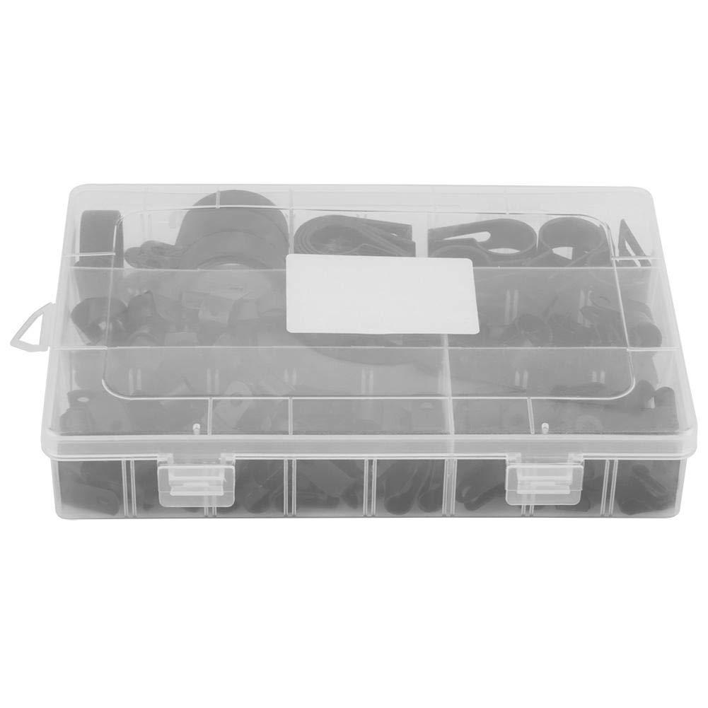 200 Unids P Clips,Clips Plástico Remaches Plastico 5mm 6mm 9mm 12mm 19mm 28mm Caja de Herramientas de Abrazaderas para Kit de Conducto de Cable para Fijar Cables,Conductos y Tubos(negro)