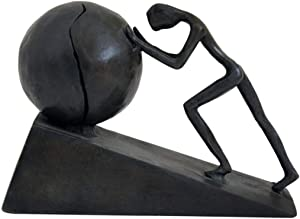 Man with Sphere Iron Statue Metal Sculpture Sportsman Art Metal Ornament Figurine Home and Office Decor (B2 Strong)