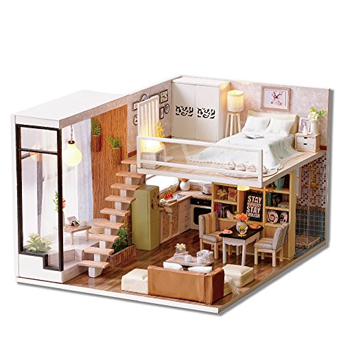 CuteBee Dollhouse Miniature with Furniture, Wooden DIY DollHouse Kit Plus Dust Proof and Music Movement, 1:24 Scale Creative Room for Valentine