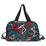 iPrint Travelling bag,Grunge,Abstract Shapes in Graffiti Art Style Underground Hip Hop Culture Funky Street Wall,Multicolor ,Personalized