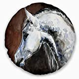 Designart CU13288-16-16-C Gray Arabian Horse Watercolor' Abstract Throw Cushion Pillow Cover for Living Room, Sofa, 16'' Round, Pillow Insert + Cushion Cover Printed on Both Side