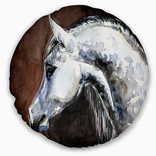 Designart CU13288-16-16-C Gray Arabian Horse Watercolor' Abstract Throw Cushion Pillow Cover for Living Room, Sofa, 16'' Round, Pillow Insert + Cushion Cover Printed on Both Side by Designart