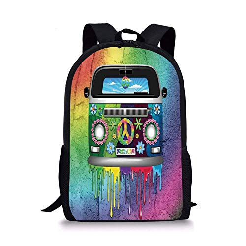 - School Bags Groovy Decorations,Old Style Hippie Van with Dripping Rainbow Paint Mid 60s Youth Revolution Movement Theme,Multi for Boys&Girls Mens Sport Daypack
