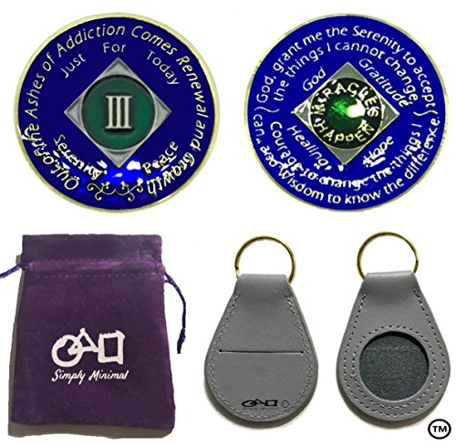 3 Pack-NA Coin, Gold Color Tri-Plated 3 Year NA Recovery Coin, Coin Holder, and a Velvet Pouch ()