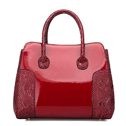 coloré ZHRUI Cuir Daim avec Rouge Brillant en Rouge en Verni Sac Main Crocodile à PqPfaw