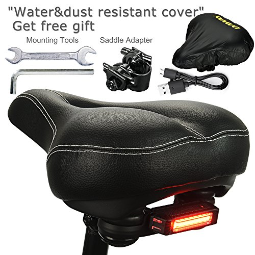DAWAY C900 Bike Seat with Rechargeable Taillight - Men Women Foam Padded Leather Wide Bicycle Saddle Cushion, Comfortable, Waterproof, Dual Spring, Soft, Breathable, Universal, 1 Year Warranty, Black by DAWAY (Image #6)